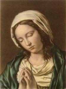 Maria in preghiera, G. B. Salvi (detto il Sassoferrato), XVII secolo.  Questo dipinto ci offre l'immagine intensa e raccolta di Maria in preghiera. Il volto giovanissimo emerge dal fondo buio incorniciato dal velo bianco sulle cui pieghe si frange la luce, mettendo in risalto le superfici lisce dell'incarnato, i lineamenti minuti e gli occhi come fessure.