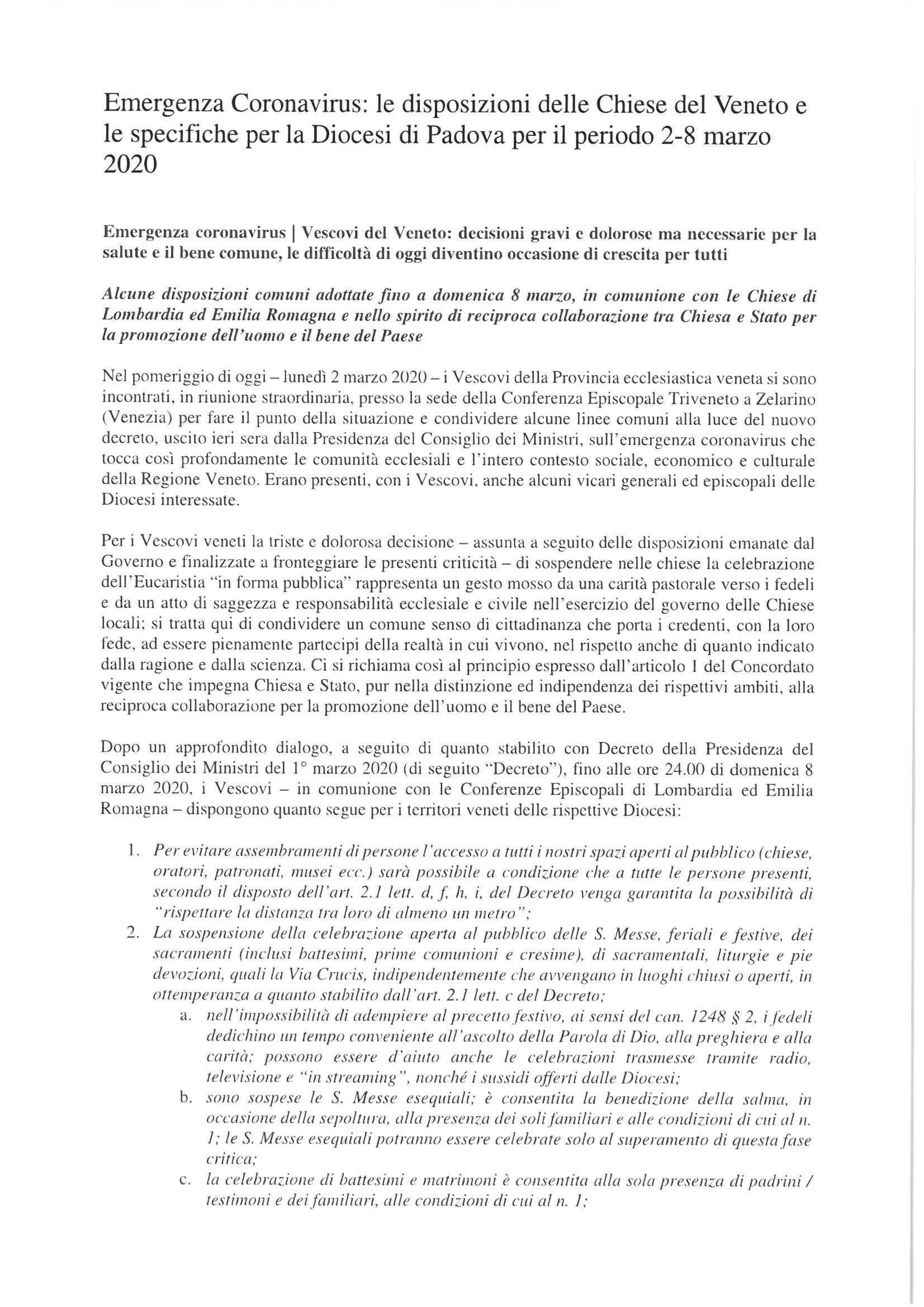 Disposizioini Vescovi del Veneto