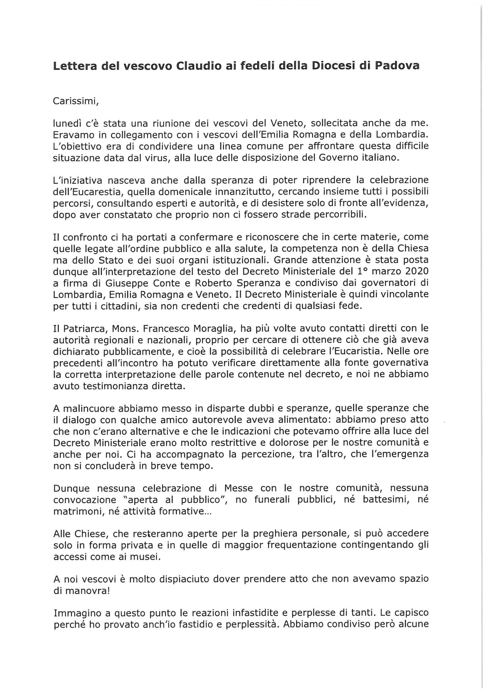 Lettera del Vescovo Claudio alla Diocesi